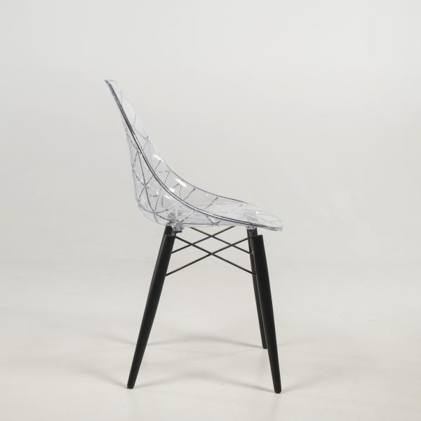 Chaise tendance avec pieds en bois noir et coque transparente - Prisma - 10