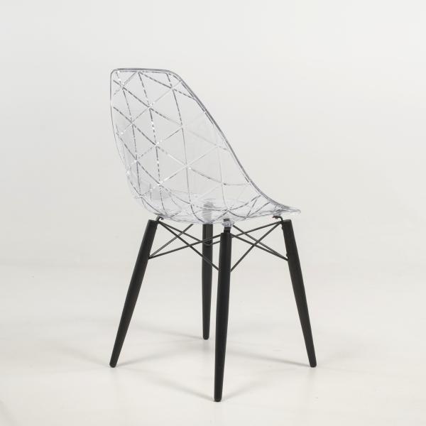 Chaise moderne avec pieds en bois noir et coque transparente - Prisma - 11