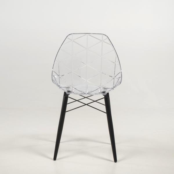 Chaise avec coque transparente et pieds en bois noir - Prisma - 12