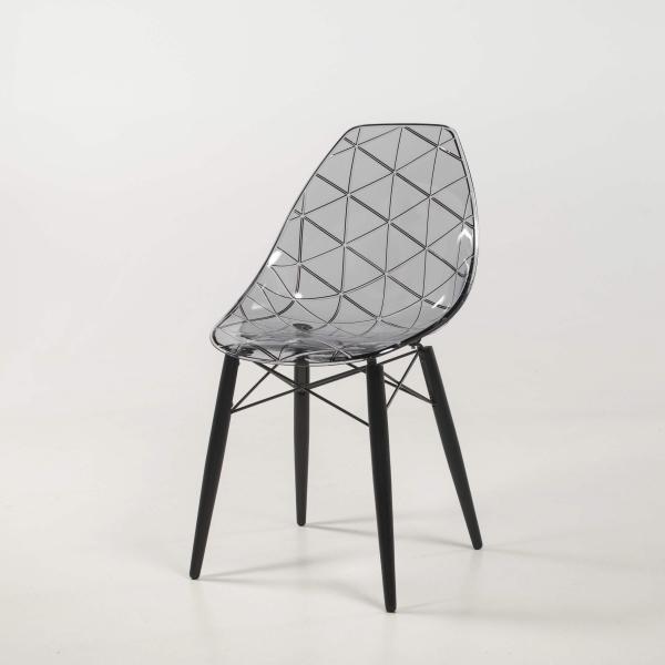 Chaise design coque transparente fumée avec pieds en bois noir - Prisma - 14
