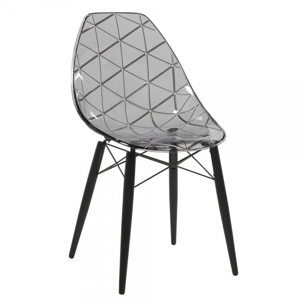 Chaise avec pieds en bois noir et coque transparente fumée - Prisma - 13