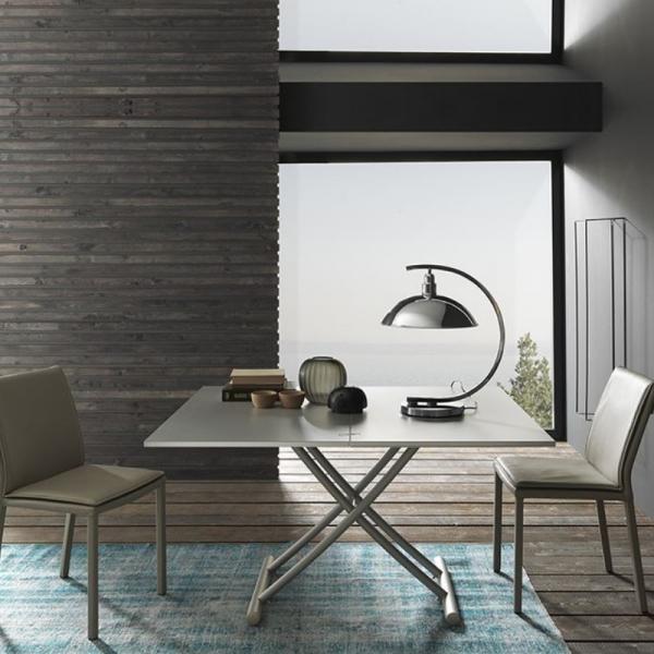 Table de salon relevable en céramique et pieds métal - Bessy - 1