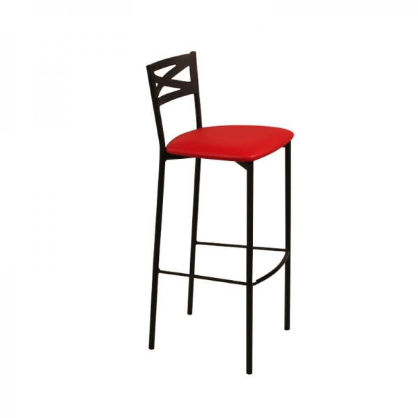 Tabouret de bar métal noir avec dossier assise rouge rembourrée style contemporain - Kayle - 1