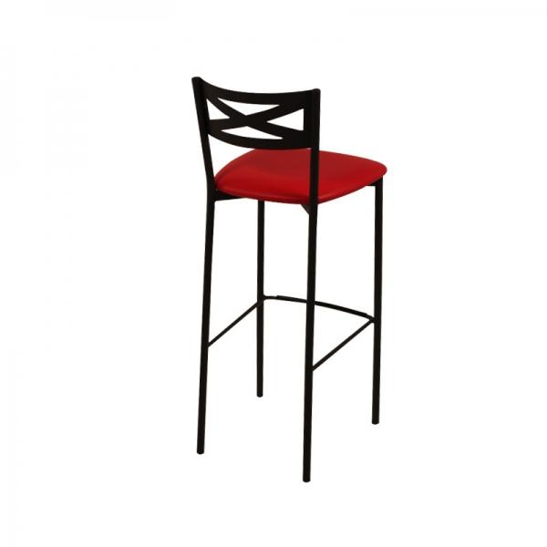 Tabouret de bar métal noir avec dossier assise rouge rembourrée style contemporain - Kayle - 3