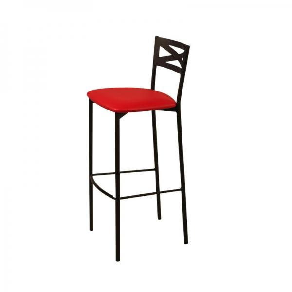 Tabouret de bar métal noir avec dossier assise rouge rembourrée style contemporain - Kayle - 2