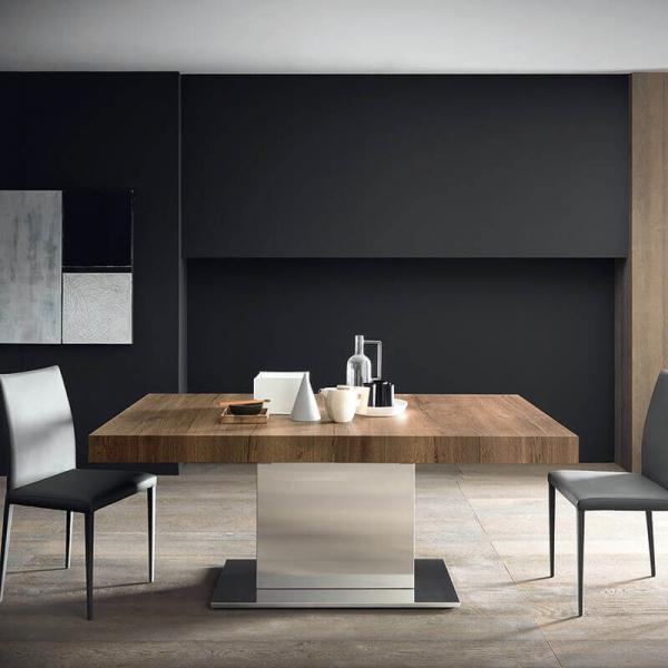 Table de salle à manger extensible pied central plateau en mélaminé effet bois - Toxer Maxi - 1