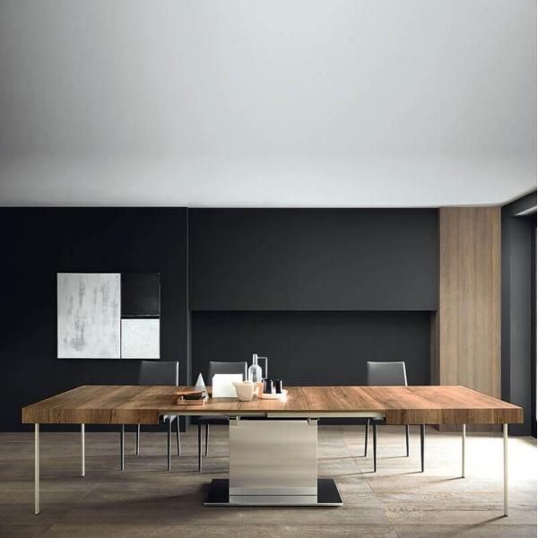 Table de salle à manger extensible pied central plateau en mélaminé effet bois - Toxer Maxi - 2