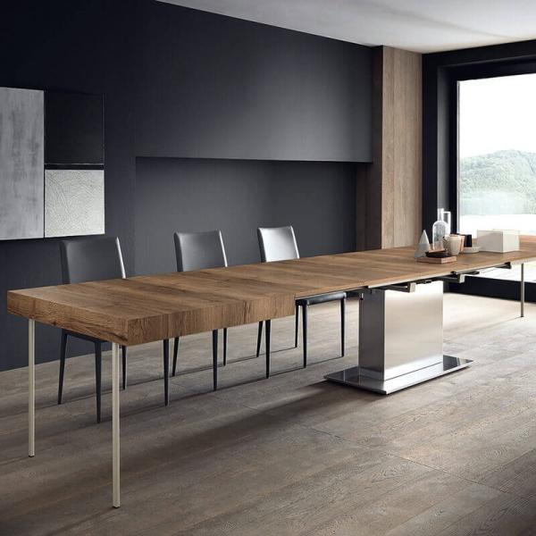 Table ultra extensible pied central plateau en mélaminé effet bois - Toxer Maxi - 3