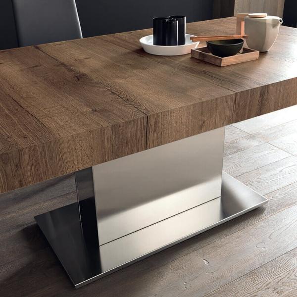 Table pied central en métal plateau extensible effet bois - Tower Maxi - 4