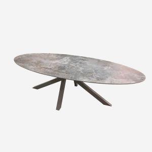 Table design ovale en dekton pied central - Moon