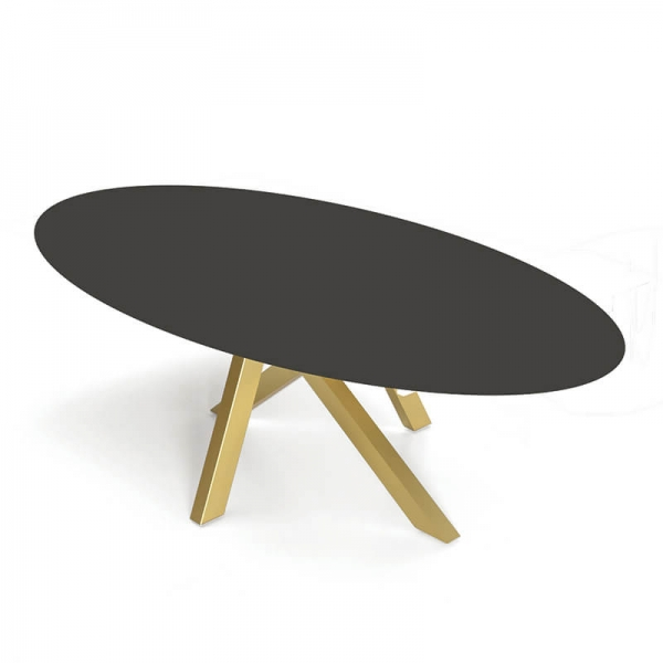 Table design ovale en dekton pied central - Moon - 4