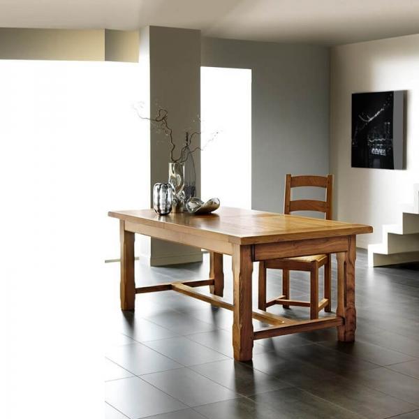 Table de ferme extensible en chêne massif avec panneaux fabrication française - Ferme - 1