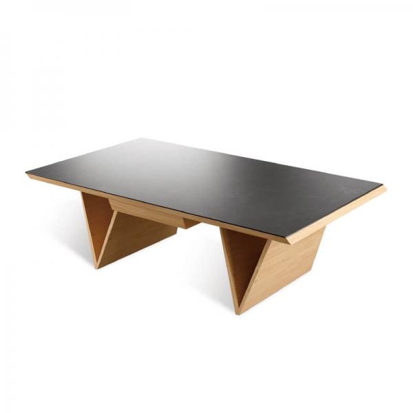 Table basse céramique et bois avec tiroir fabrication française - Delta - 1