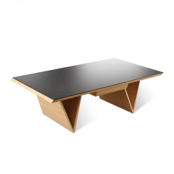 Table de salon en céramique et bois massif made in France - Delta - 2