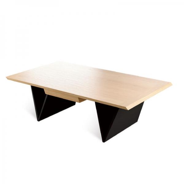 Table basse chêne massif avec tiroir style moderne - Delta - 1