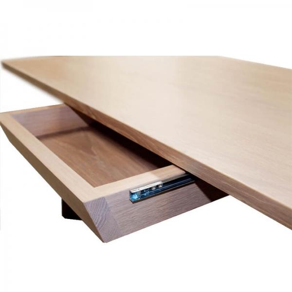 Table de salon en chêne massif avec rangement - Delta - 3