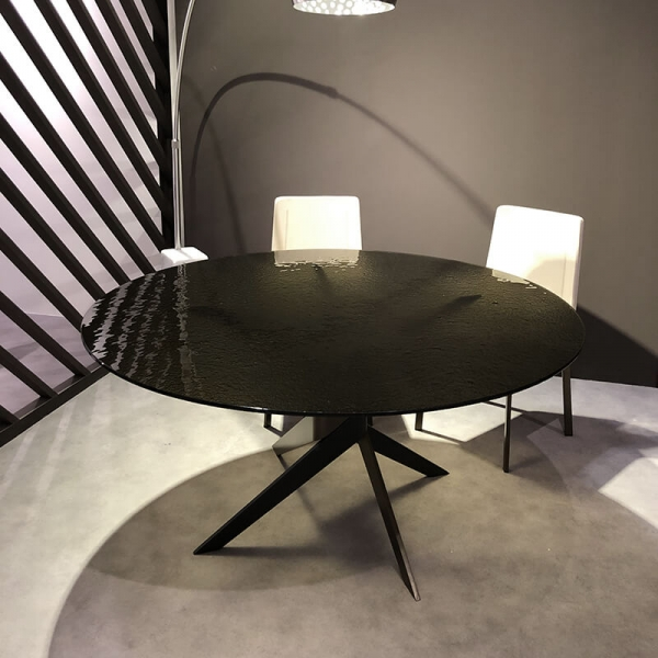 Table ronde en verre design italien pied central - Vertigo - 3