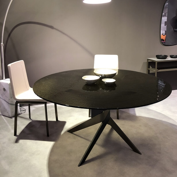Table ronde en verre design italien pied central - Vertigo - 4