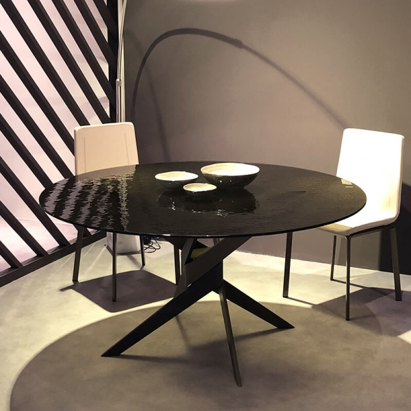 Table ronde en verre design italien pied central - Vertigo - 2