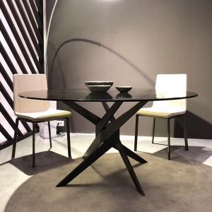 Table ronde en verre design italien pied central - Vertigo
