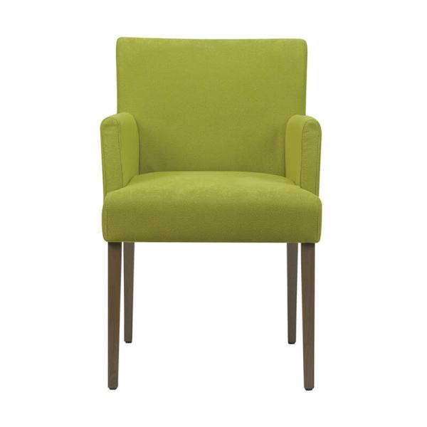 Chaise avec accoudoirs en tissu vert et hêtre massif foncé - Shanna Mobitec - 2