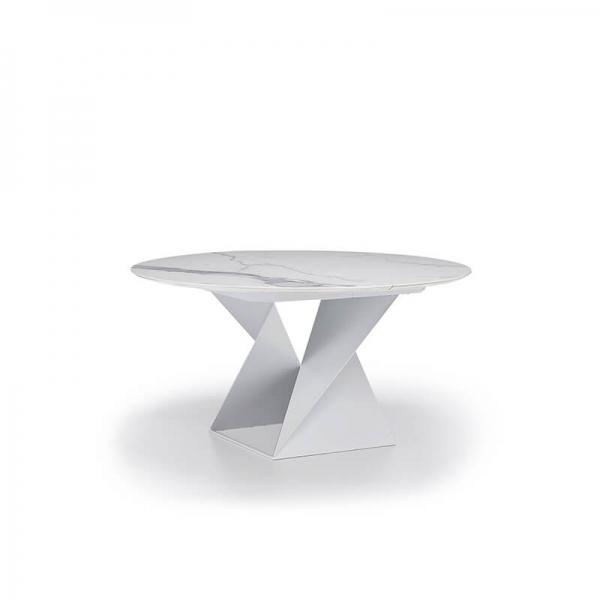 Table ronde extensible design pied central en métal blanc et plateau céramique blanc - Cube A - 2
