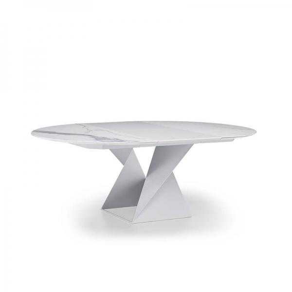 Table ronde extensible design pied central en métal blanc et plateau céramique blanc - Cube A - 3
