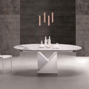 Table ronde extensible design pied central en métal blanc et plateau céramique blanc- Cube A