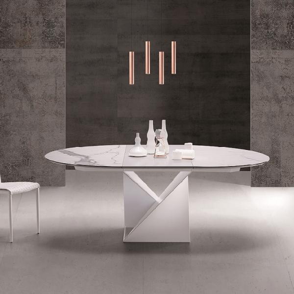 Table ronde extensible design pied central en métal blanc et plateau céramique blanc- Cube A - 1