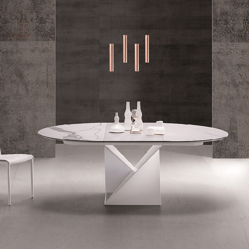 Table Ronde Extensible Design Pied Central Et Plateau Ceramique
