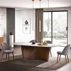 Table design pied central bois et plateau en céramique blanche forme tonneau - Orbit