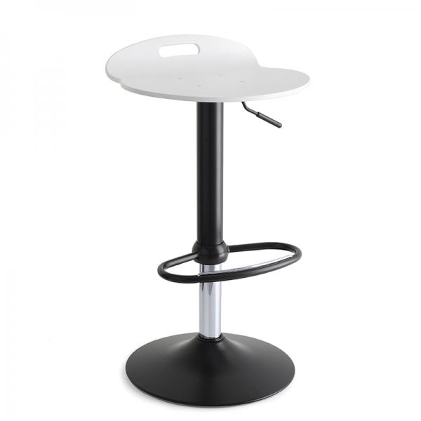 Tabouret design réglable pivotant en acier noir et bois blanc - Rock 1339 7 - 5
