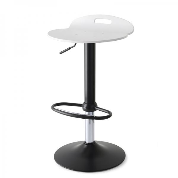 Tabouret design réglable pivotant en acier noir et bois blanc - Rock 1339 7 - 6