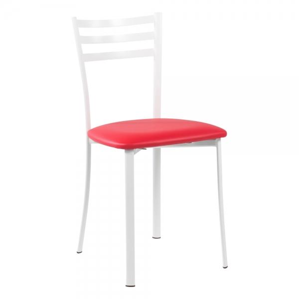 Chaise de cuisine en métal blanc assise rouge - Ace 1320 - 31