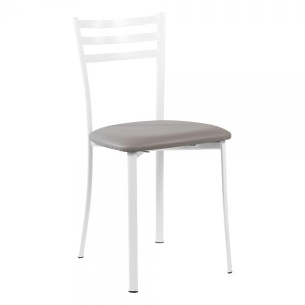 Chaise de cuisine en métal blanc assise rembourrée - Ace 1320 - 32