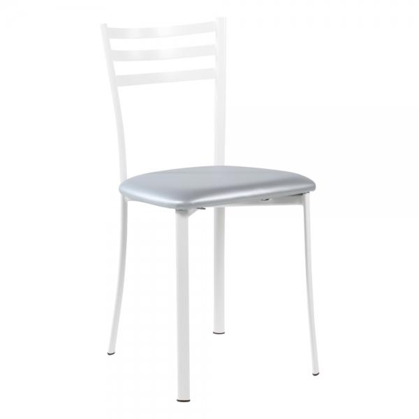 Chaise de cuisine en métal blanc assise alu - Ace 1320 - 34