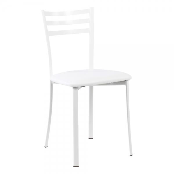 Chaise de cuisine en métal blanc assise blanche - Ace 1320 - 35