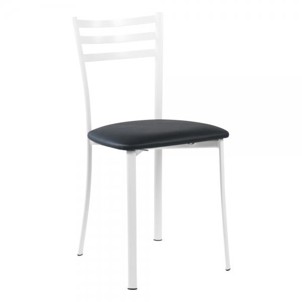 Chaise de cuisine en métal blanc assise noire - Ace 1320 - 36