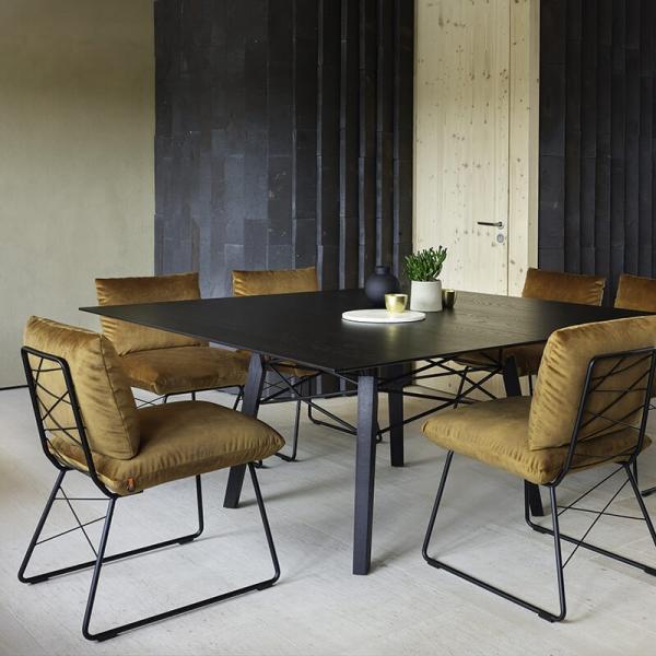 Chaise confortable design marron jaune avec structure en métal noir - Cosy Mobitec® - 10