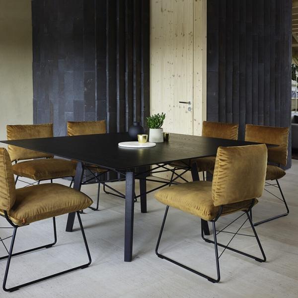 Chaise de designer marron jaune avec structure en métal - Cosy Mobitec® - 11