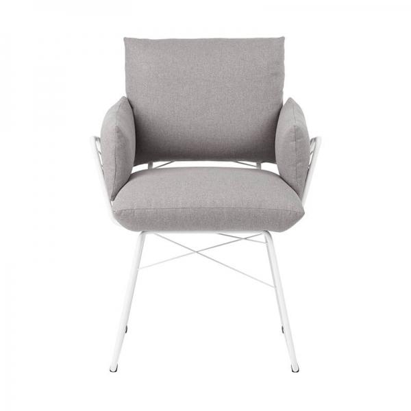 Fauteuil design confortable assise en tissu gris et pieds en métal blanc - Cosy Mobitec® - 15