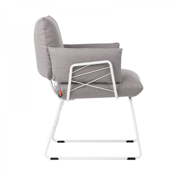 Fauteuil design confortable assise en tissu gris et pieds en métal blanc - Cosy Mobitec - 14