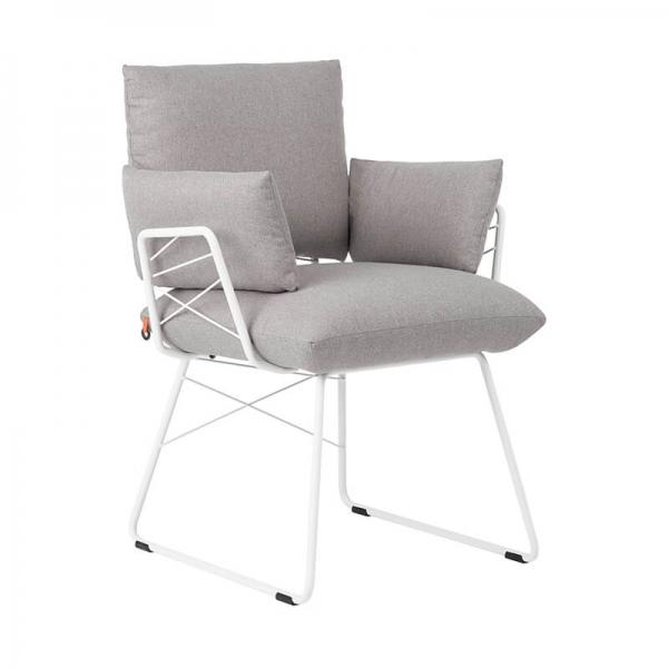 Fauteuil moderne confortable assise en tissu gris et pieds en métal blanc - Cosy Mobitec® - 13
