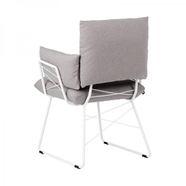 Fauteuil design en tissu gris et pieds en métal blanc - Cosy Mobitec® - 16