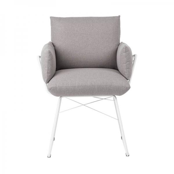 Fauteuil tendance en tissu gris et pieds en métal blanc - Cosy Mobitec® - 17