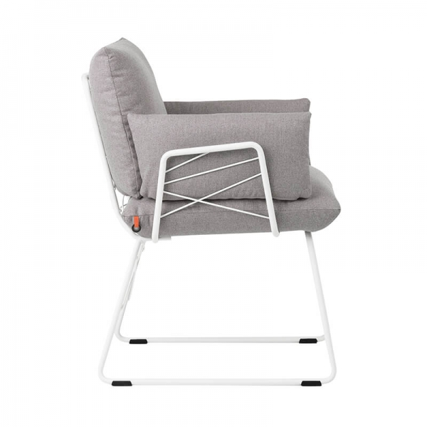 Fauteuil moderne en tissu gris et pieds en métal blanc - Cosy Mobitec® - 20