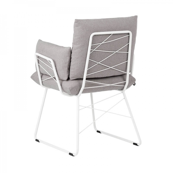 Fauteuil Mobitec design rembourré assise en tissu gris et pieds en métal blanc - Cosy Mobitec® - 21