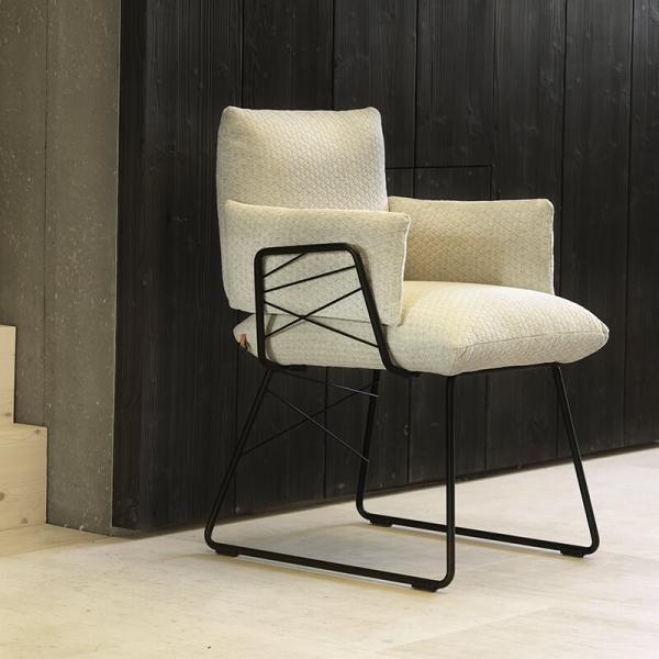 Fauteuil design confortable assise en tissu beige et pieds en métal noir - Cosy Mobitec® - 7