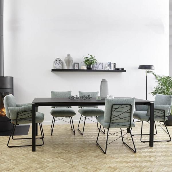 Fauteuil design confortable assise en tissu vert et pieds en métal noir - Cosy Mobitec® - 3