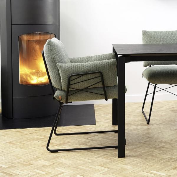 Fauteuil design confortable assise en tissu vert et pieds en métal noir - Cosy Mobitec® - 9